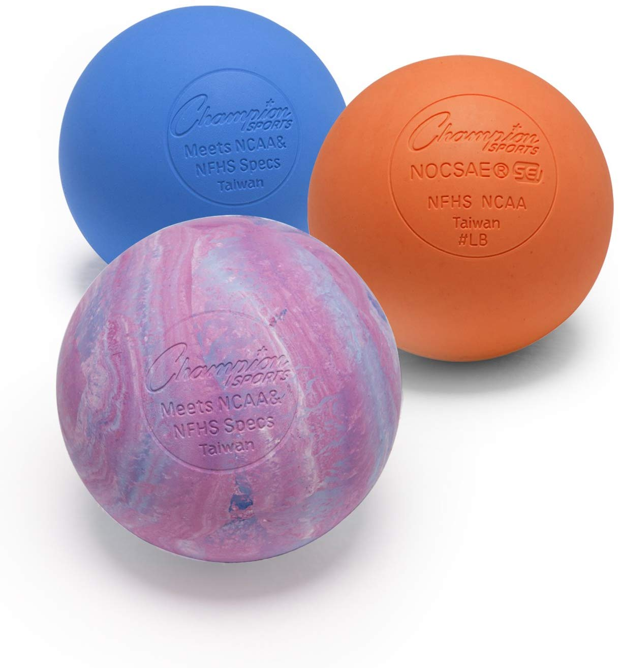 Blue Pack of 2 Champion Sports Official Size Rubber Lacrosse Ball